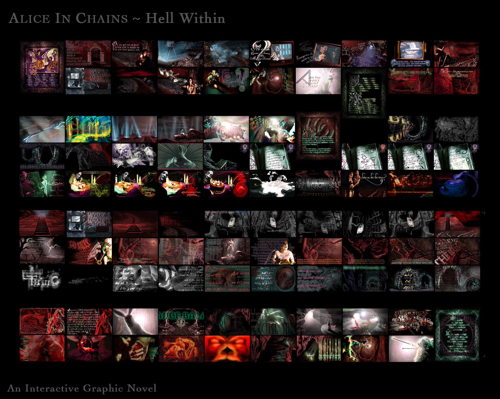 A colorful layout of scenes from the Alice In Chains graphic novel, Hell Within.
