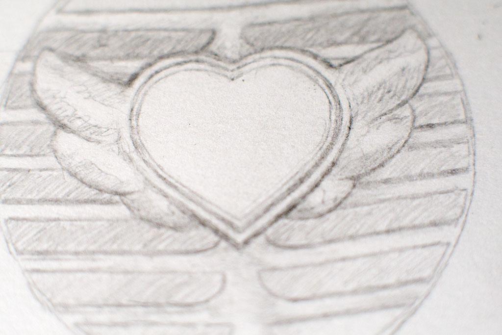 Pencil drawing for Heart Red Velvet Car album cover
