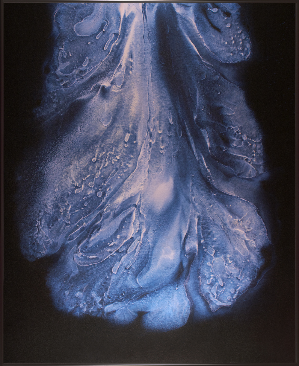 Flow of blue Iridescent paint on black canvas.